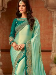 Turquoise Fancy Fabric Silk Saree
