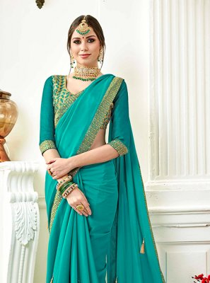 Turquoise Faux Georgette Party Saree