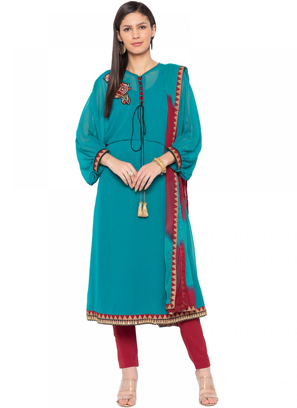 Turquoise Faux Georgette Readymade Suit