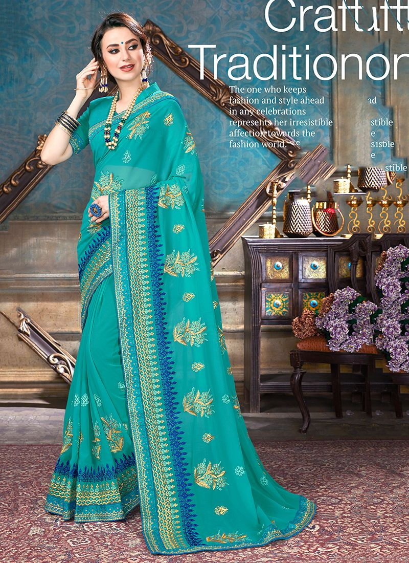Turquoise Faux Georgette Saree