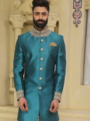 Turquoise Handwork Sherwani