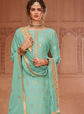 Turquoise Jacquard Palazzo Salwar Suit