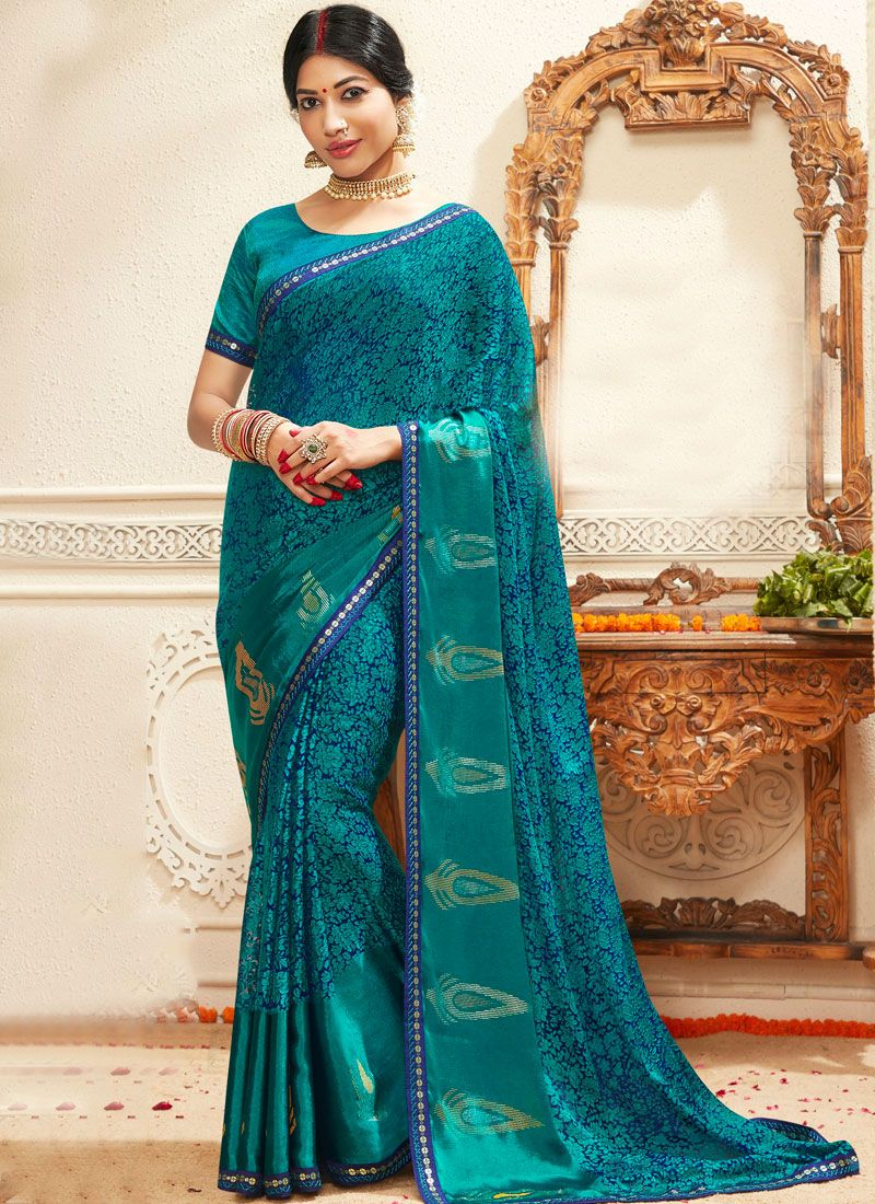 Turquoise Lace Faux Georgette Trendy Saree