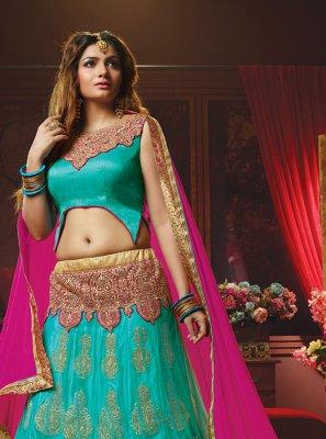 Turquoise Lace Lehenga Choli