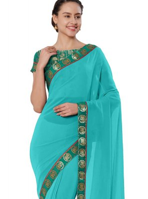 Turquoise Lace Saree