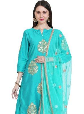 Turquoise Mehndi Readymade Salwar Suit