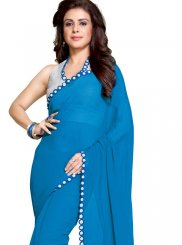 Turquoise Mirror Faux Georgette Saree