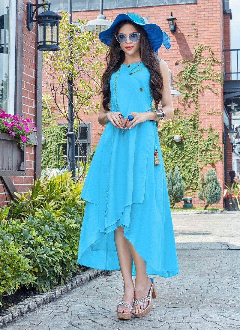 Turquoise Party Cotton   Party Wear Kurti