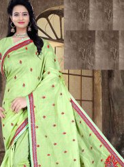 Turquoise Poly Cotton Festival Printed Saree