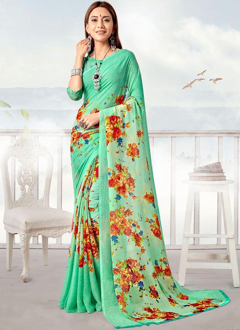 Turquoise Printed Casual Saree