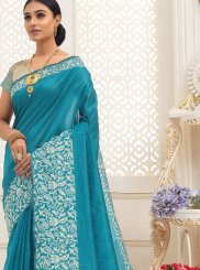 Turquoise Printed Cotton Trendy Saree