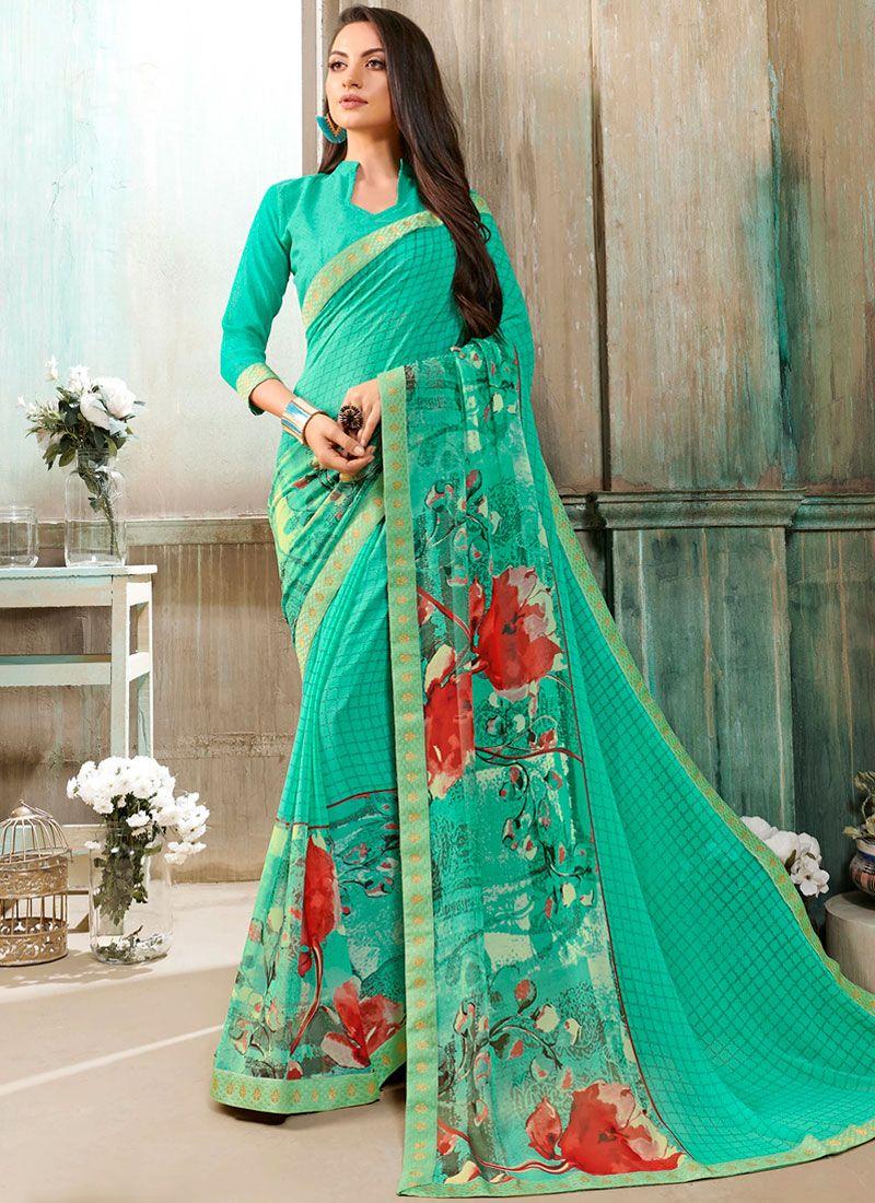 Turquoise Printed Mehndi Casual Saree