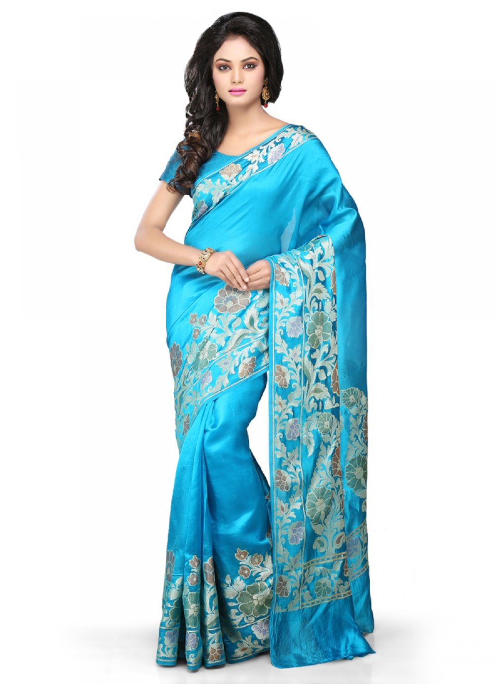 Turquoise Reception Art Banarasi Silk Designer Traditional Saree