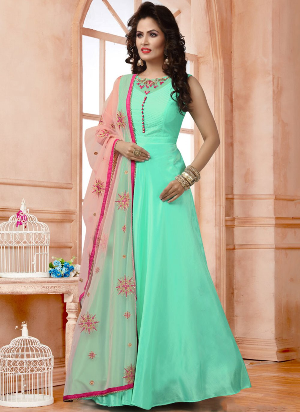 Turquoise Reception Readymade Anarkali Suit