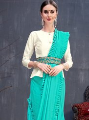 Turquoise Reception Traditional Saree