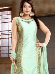 Turquoise Reception Trendy Churidar Salwar Suit