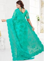 Turquoise Resham Classic Saree