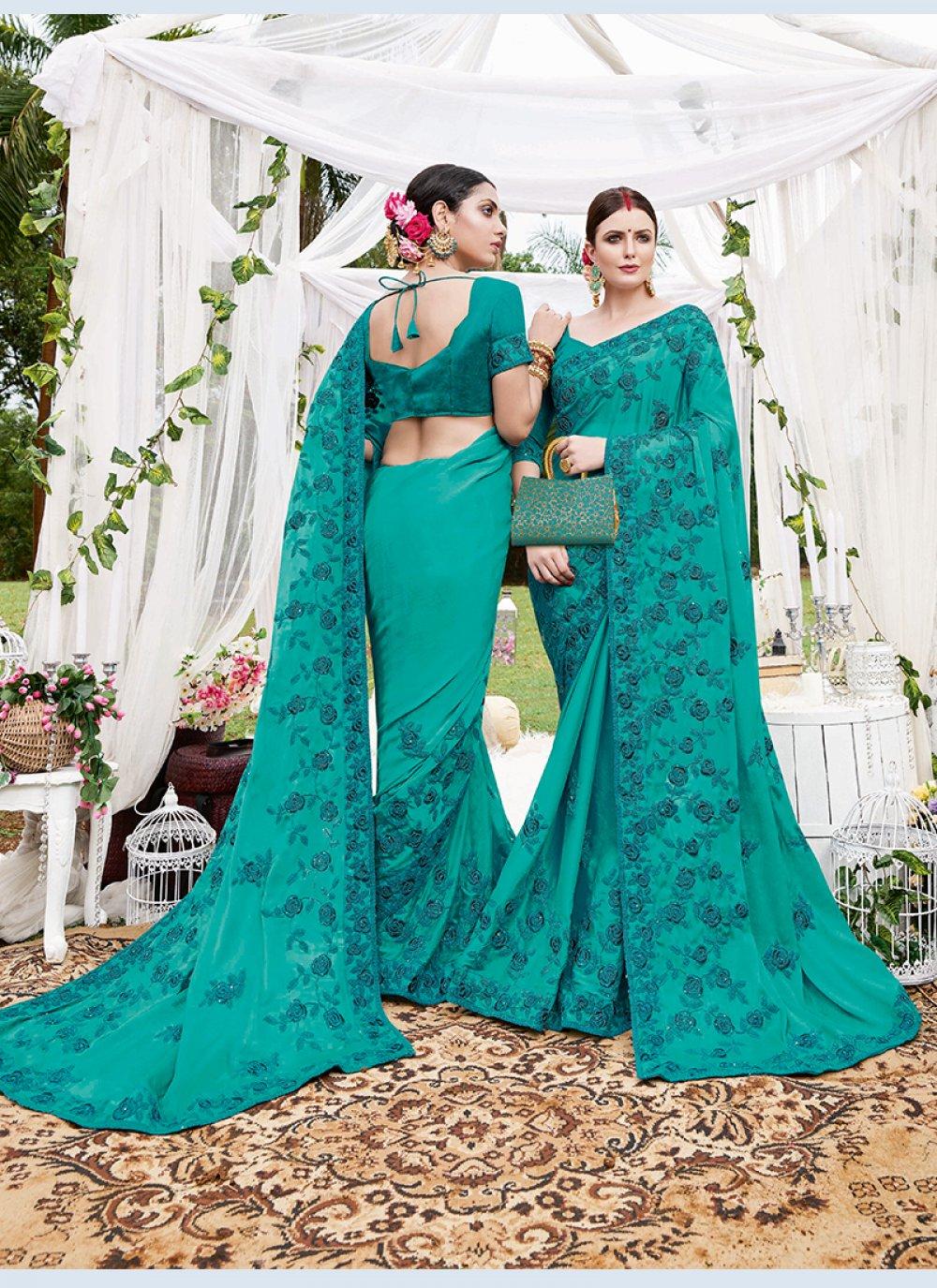 Turquoise Resham Trendy Saree