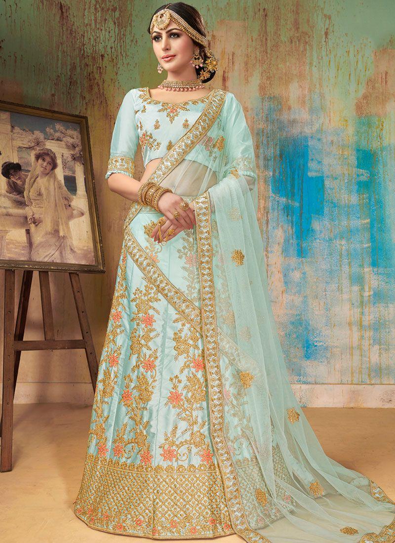 Turquoise Sangeet Satin Silk Designer Lehenga Choli