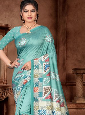 Turquoise Silk Reception Classic Saree