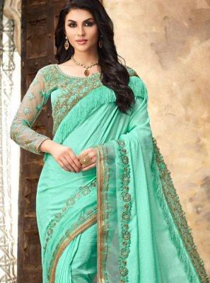 Turquoise Silk Resham Classic Saree