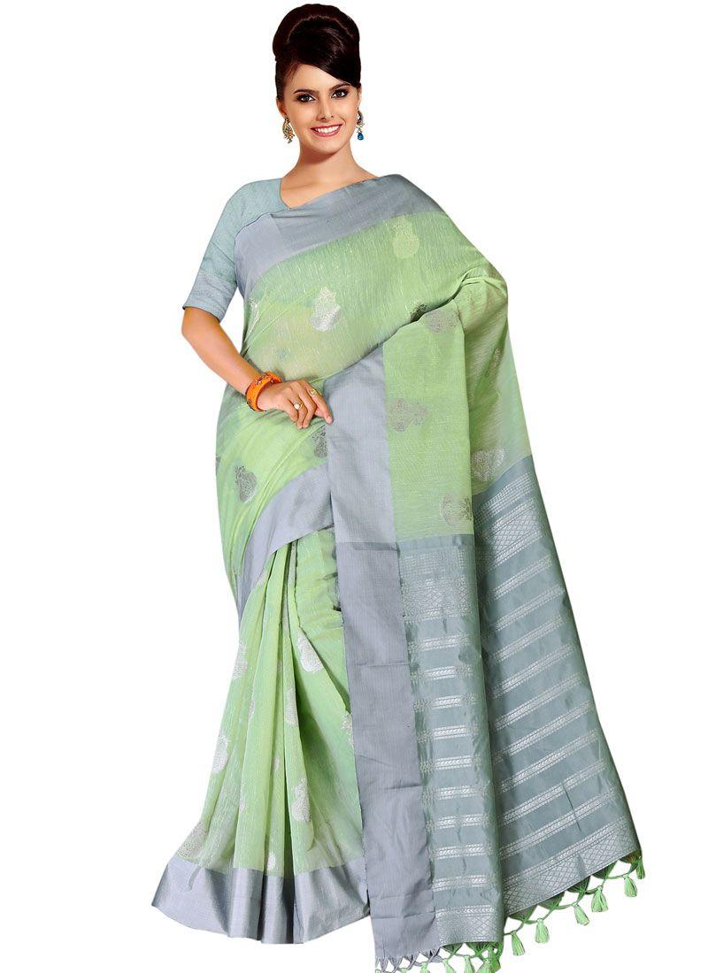 Turquoise Tussar Silk Casual Saree