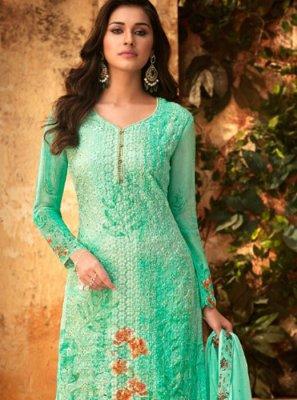 Turquoise Viscose Designer Palazzo Salwar Kameez