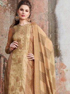Tussar Silk Beige Designer Palazzo Suit