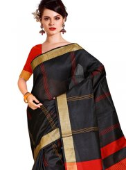 Tussar Silk Black Traditional Saree