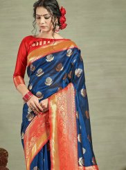 Tussar Silk Blue Traditional Designer Saree