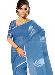 Tussar Silk Blue Weaving Casual Saree