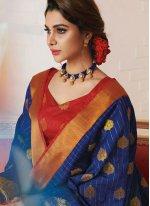 Tussar Silk Blue Weaving Designer Traditional Saree