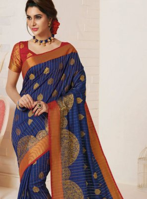 Tussar Silk Blue Weaving Designer Traditional Saree