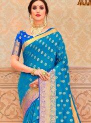 Tussar Silk Border Blue Classic Saree