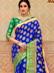 Tussar Silk Border Blue Designer Saree