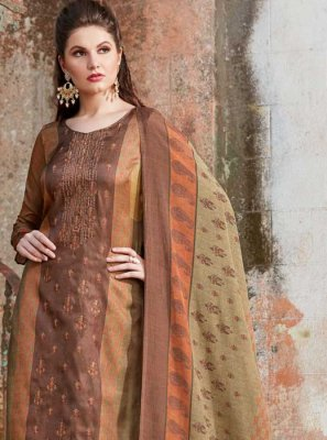 Tussar Silk Brown Embroidered Pant Style Suit