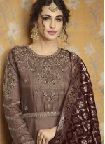Tussar Silk Brown Embroidered Readymade Gown