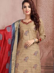 Tussar Silk Churidar Suit