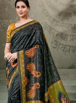 Tussar Silk Digital Print Classic Saree