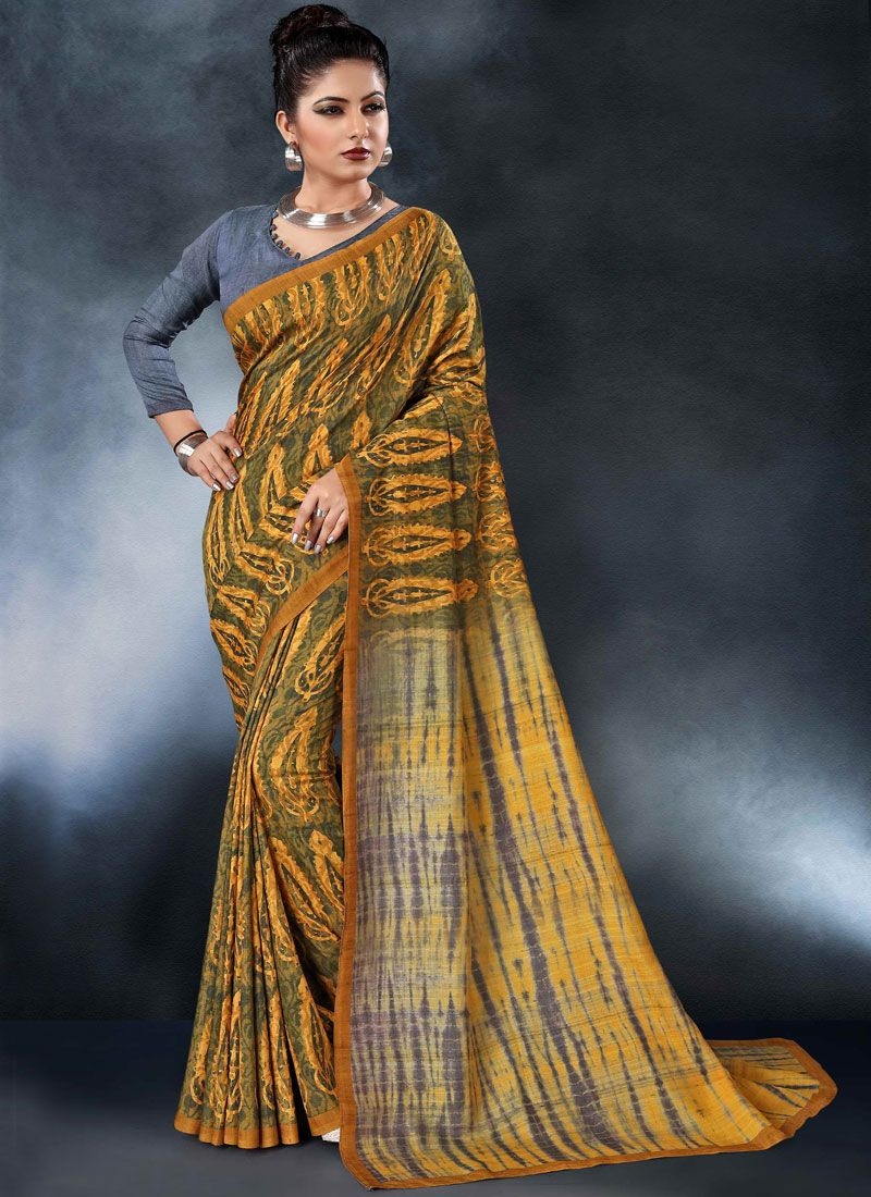 Tussar Silk Digital Print Multi Colour Printed Saree