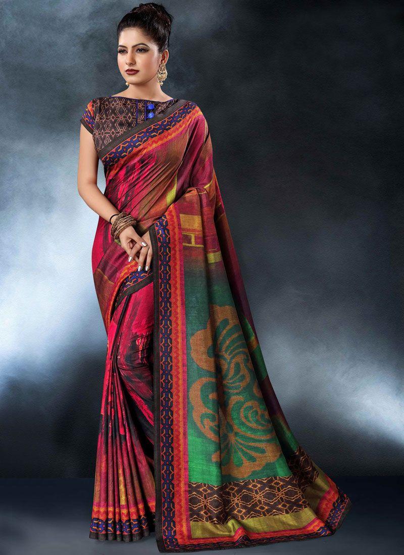 Tussar Silk Digital Print Printed Saree