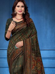 Tussar Silk Digital Print Printed Saree in Multi Colour