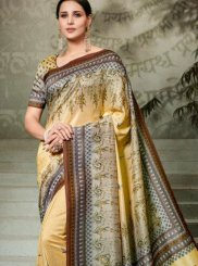 Tussar Silk Digital Print Traditional Saree in Multi Colour