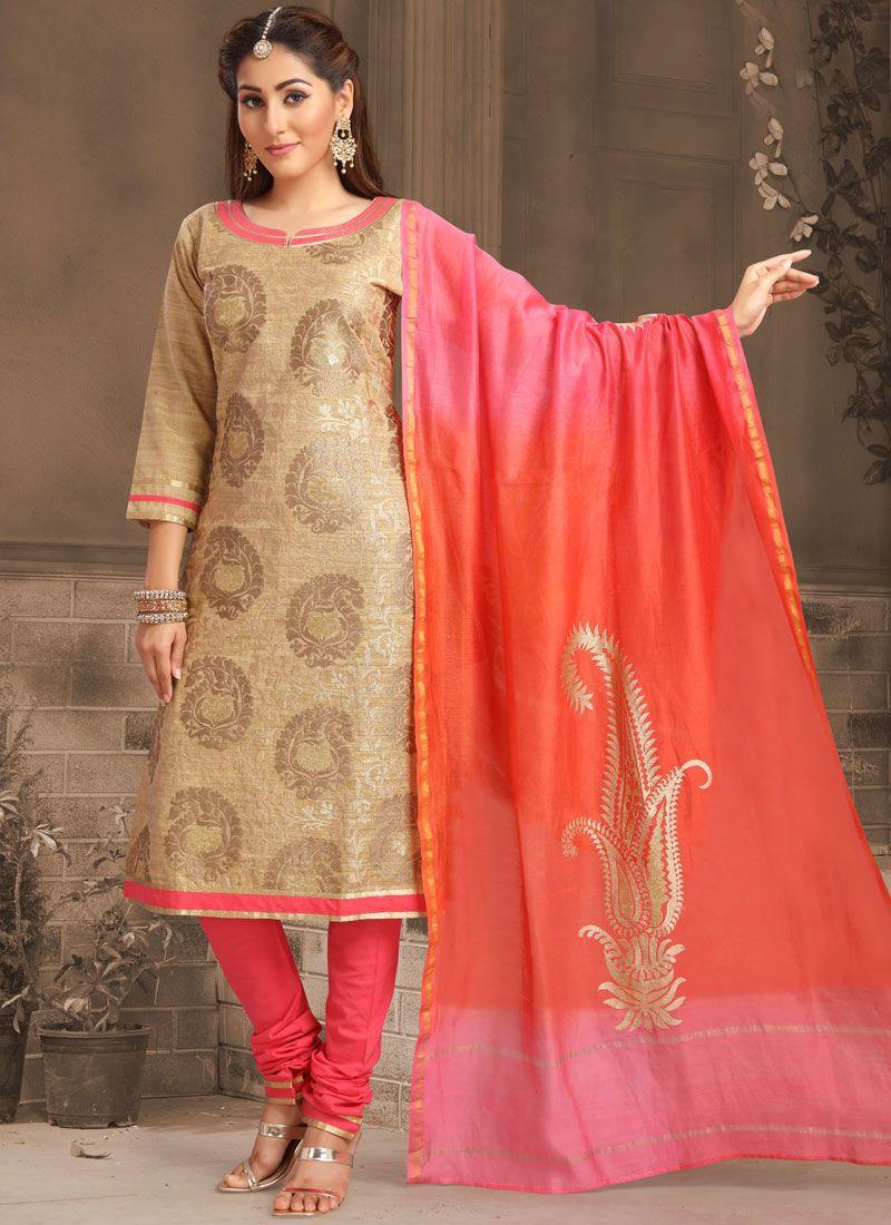 Tussar Silk Embroidered Beige Designer Salwar Kameez