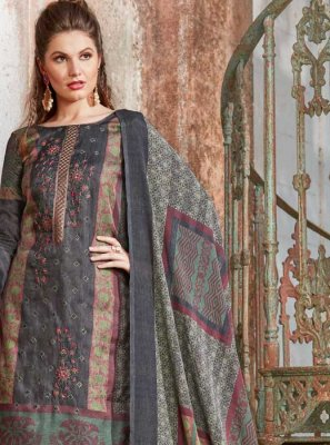Tussar Silk Grey Embroidered Pant Style Suit