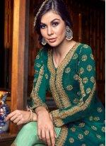 Tussar Silk Lace Floor Length Anarkali Suit