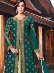Tussar Silk Lace Floor Length Anarkali Suit