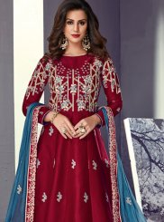 Tussar Silk Maroon Lace Floor Length Anarkali Suit