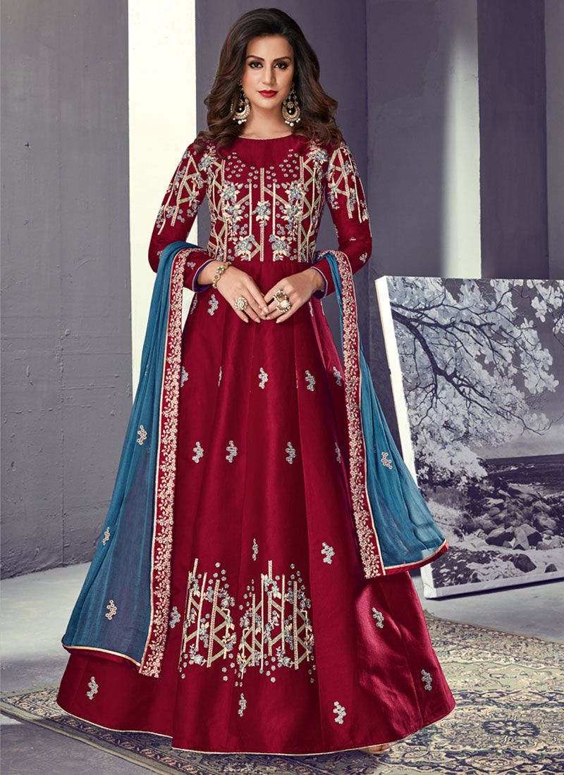 Tussar Silk Maroon Lace Floor Length Anarkali Suit