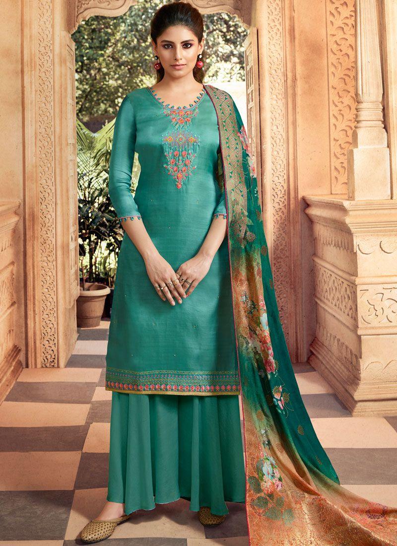 Tussar Silk Mehndi Trendy Palazzo Salwar Suit